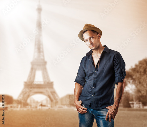 Young casual man isolated on white background