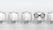 Piggy bank - orthographic raw with one pig with glasses