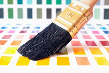 Pinsel auf Farbmustern