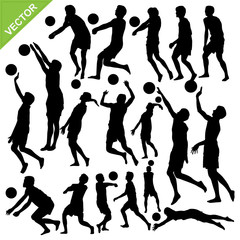 Men beach volleyball silhouettes vector