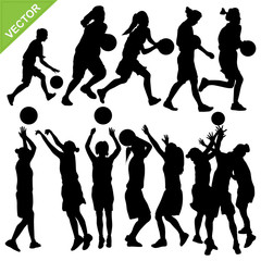 Women play basketball silhouettes vector