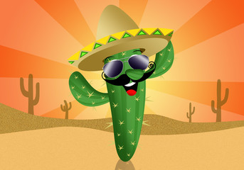Cactus cartoon with sombrero