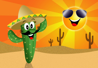 Cactus cartoon with sun