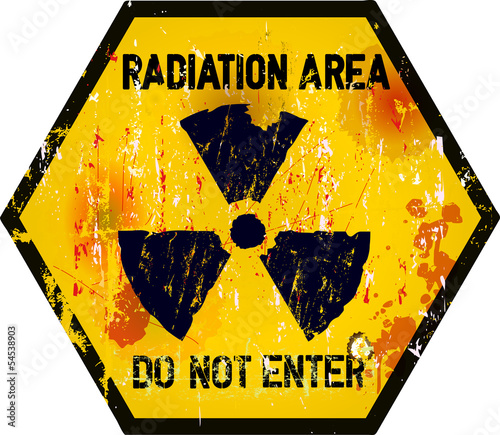 radiation area warning sign, grungy style
