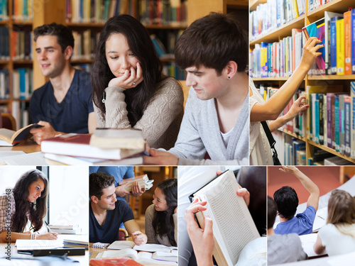 Collage of students in library