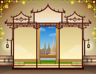 Graphic layout with traditional thai elements. Vector template