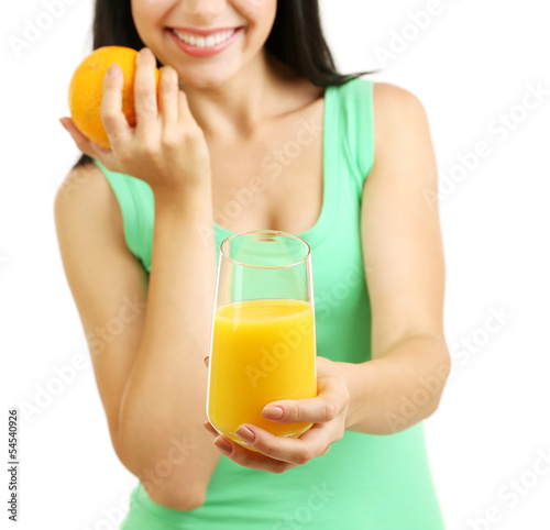 Girl with fresh juice and orange isolated on white