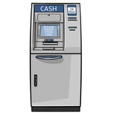 Fototapety vector cartoon cash machine