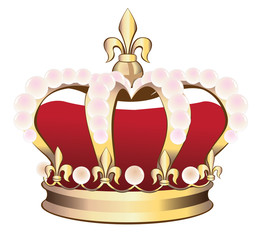 Royal Crown with pink pearls vector illustration.