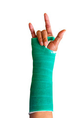 wrist and arm in green splint.