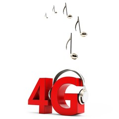 3d sign of 4G music download with headphones