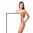 beautiful nude woman holding a presentation board