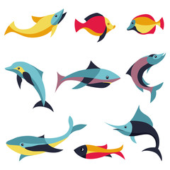Vector set of logo design elements - fishes signs