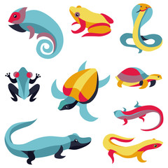 Vector set of logo design elements - reptiles