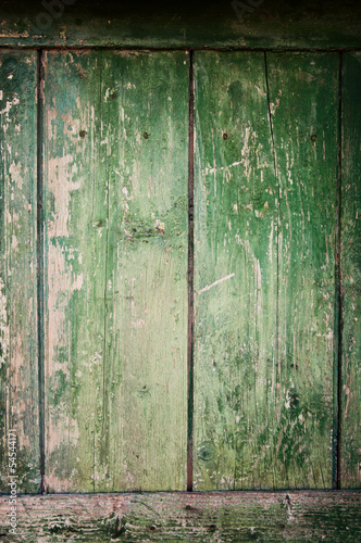Old green wooden door