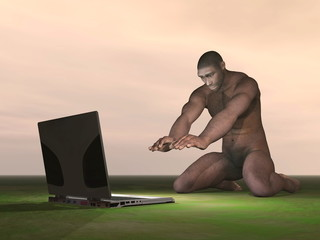 Computer and homo erectus - 3D render
