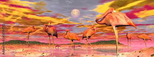 Obraz na Szkle Flamingos by sunset - 3D render