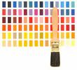 Pinsel vor Muster Farbtafel
