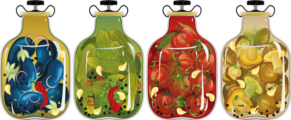 Glass jars with pickled vegetables and mushrooms