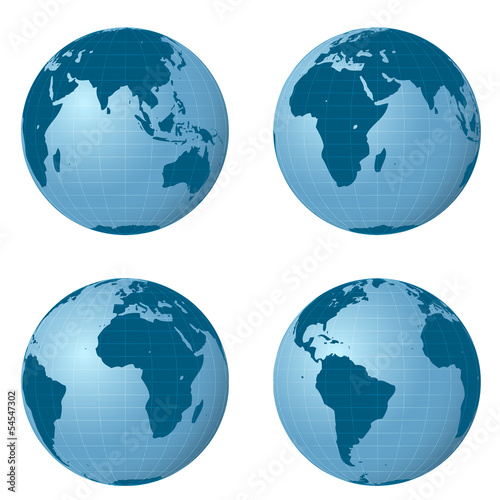 isolated earth views pack with four positions vector