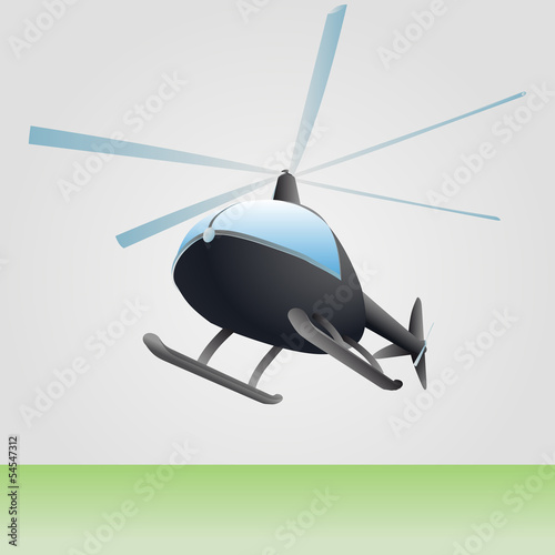 new helicopter flight vector drawing above ground