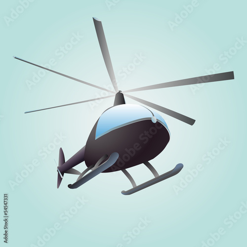 new helicopter flight vector drawing in sky