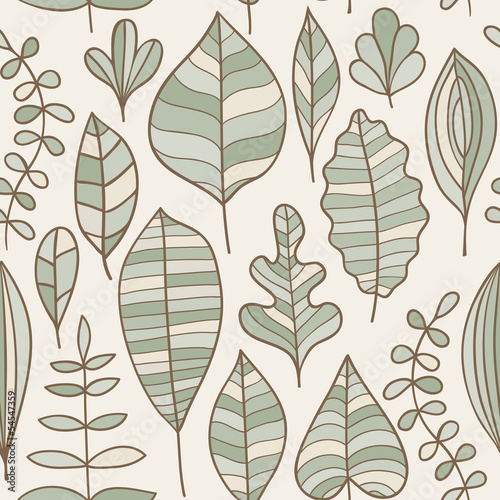 Seamless pattern with leaf, abstract leaf texture, endless backg © Markovka