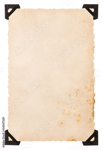 old photo card with black corner isolated on white