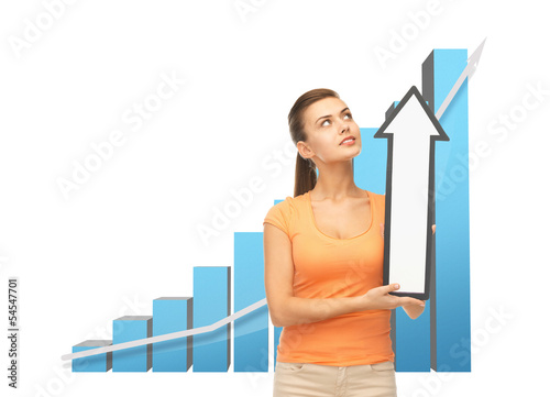 woman with rising graph and arrow directing up