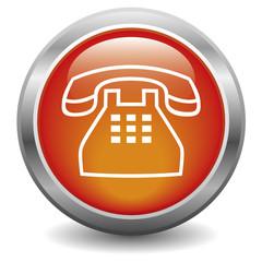Icône bouton internet téléphone rouge