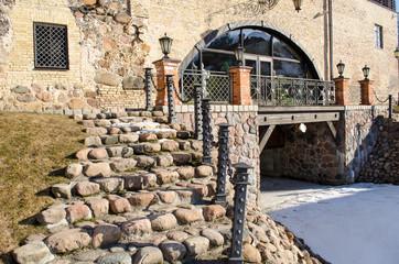 stone staircase railings retro manor snow remain