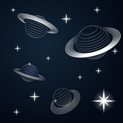 several saturn planets in outer space vector