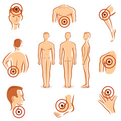 People with pain dots collection. Vector