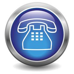 Icône bouton internet téléphone bleu