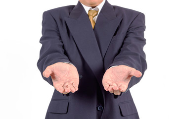 Businessman hands as if holding something. Focus on finger-tips