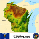 Wisconsin USA counties name location map background