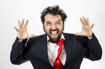 Crazy Man Letting Out Frustration By Screaming - Isolated