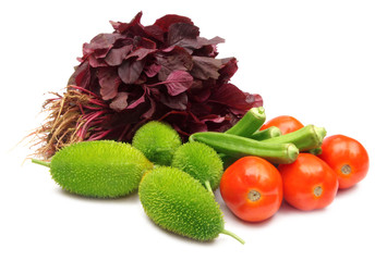 Fresh vegetables over white background