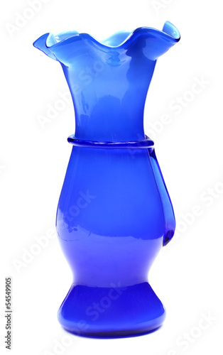 Glass flower vase over white background