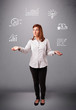 beautiful young woman juggling with statistics and graphs