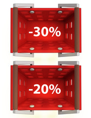 top view on red shopping basket with discount 30%, 20%