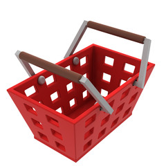 isolated red shopping basket upper view