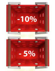 top view on red shopping basket with discount 10%, 5%