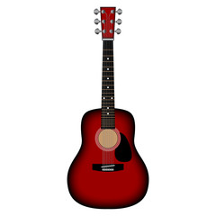 Red vector acoustic guitar.