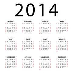Calendar for 2014 on white background. Vector EPS10