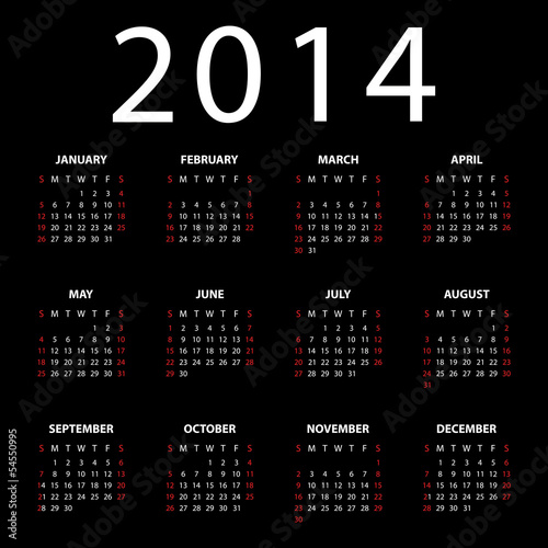 Calendar for 2014 on black background. Vector EPS10