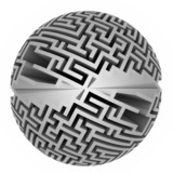 isolated grey labyrinth sphere symmetry poster