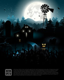 Haunted farmhouse in the woods - Halloween poster