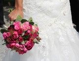 wedding flower bouquet red rose white green