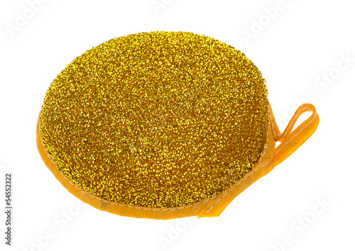 New scouring pad on white background